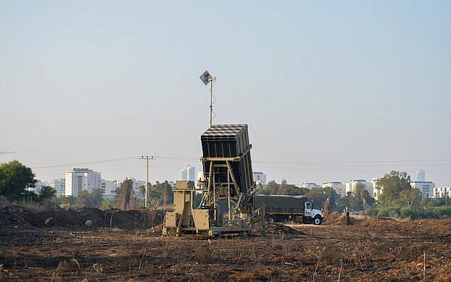 An Iron Dome missile battery seen near Tel Aviv, July 15, 2018. (Ben Dori/Flash90)