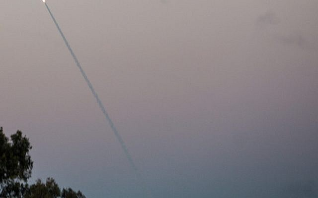 Iron Dome missiles intercept rockets from Gaza seen in the sky in Southern Israel, Nov. 12, 2018. (Hadas Parush/Flash90)