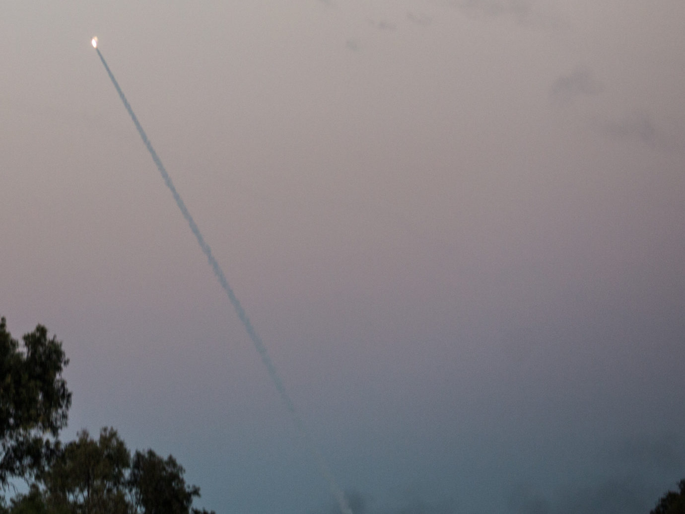 Iron Dome missiles intercept rockets from Gaza seen in the sky in Southern Israel Nov. 12 2018