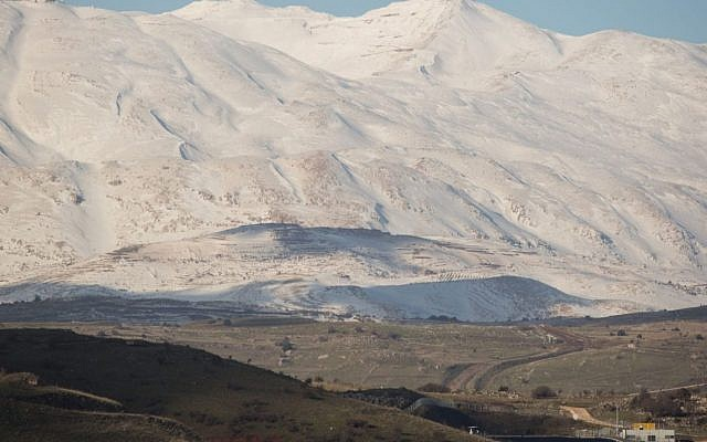 View of the snow-covered Mount Hermon in the Golan Heights in northern Israel, on Jan. 18, 2019. (Hadas Parush/Flash90)