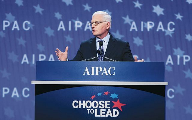 AIPAC's CEO, Howard Kohr, speaks at the group's policy conference in Washington, D.C., on March 4, 2018. (Courtesy of AIPAC)