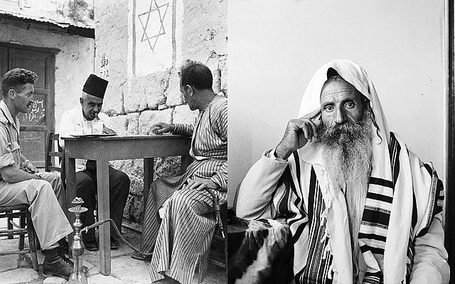 At left, a Jewish soldier and two Arab tradesmen enjoy a game of cards in the town of Madjdal at the entrance to the Negev in 1937. At right, a Yemeni Jew listens to a radio in Jerusalem in 1935. (Left, George Pickow/Three Lions/Getty Images; right, Universal History Archive/UIG via Getty Images)