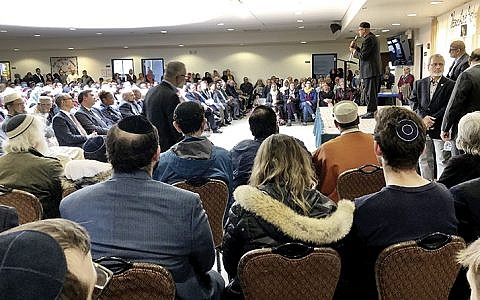 The audience and speakers at Darul Islah in Teaneck, above, represented a diverse outpouring of communities.