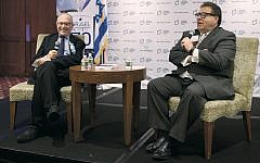 Alan Dershowitz and JNF CEO Russell Robinson at a recent JNF talk. (Perry Bindelglass)