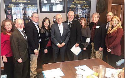 From left, Martha Cohen, Jewish Community Relations Committee chair Stan Goodman, Bruce Brafman, Mindy Stein, Congressman Bill Pascrell, Rabbi Paul Zucker, Barbara Selman, Ron Rosensweig, Richard Schnaittacher, and JCRC director Ariella Noveck. (Courtesy JFNNJ)