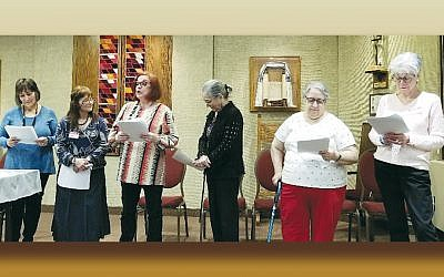 "Chana Yahalom, left, Janie Horowitz, Miriam Aron, Paula Gellis, Martha Shemin, and Sharon Gross perform in ""What's Best for Henrietta."" (Photo provided)"