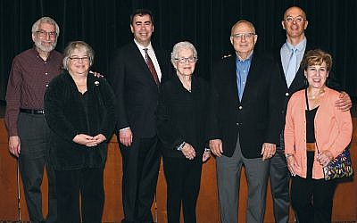 Pictured, from left, David and Judith Fox, Rabbi Steven Sirbu, Mimi Sigel, Rabbi David Saperstein, and Kenneth and Deborah Rutz. (Barbara Balkin)