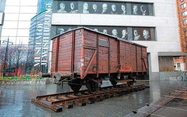 """Auschwitz. Not long ago. Not far away."" Freight car installation photo, March 31, 2019. (Museum of Jewish Heritage/John Halpern)"