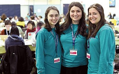 Student organizers of Hack It Together at Touro's Lander College for Women, from left, Sarah Bracha Schuraytz, Sarah Cohen, and Esther Gassner. (Photos by Dmitriy Kalinin)