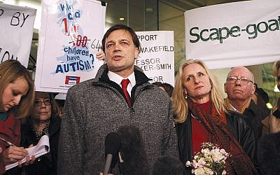 Andrew Wakefield, who wrote the debunked study falsely connecting autism and the MMR vaccine, in London in 2010. He spoke by Skype at the rally in Monsey two weeks ago. (Peter Macdiarmid/Getty Images)