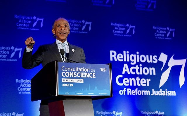 Al Sharpton speaking at the Reform movement's Religious Action Center conference in Washington, D.C., May 20, 2019. (RAC)