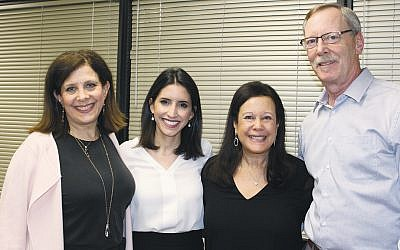 Franci Steinberg, left, chair of JFNNJ's Center for Israel Engagement, Tal Heinrich, and dinner chairs Leslie and David Smith. (Courtesy JFNNJ)