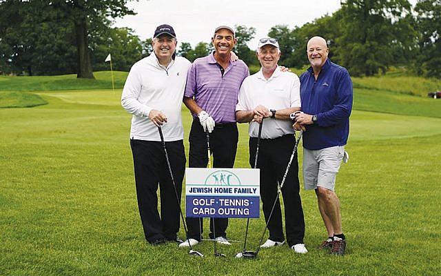 Alan Levy, Howard Chernin, Glenn Kissler, and Alan Golub at the JHF's 2018 golf outing. (Courtesy Jewish Home Family)