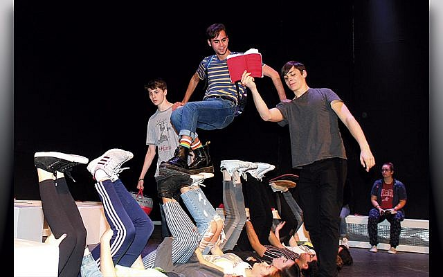 """Tenafly High School students rehearse """"The Curious Incident of the Dog in the Night-Time."""" (Photo Provided)"""