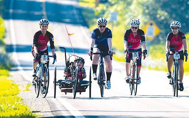 From left, Tour de Simcha riders Idy Judawitz, Chaya Iflah, Jacqueline McClure, Libby Akerman, and Iris Shalam.