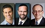 Dr. Ira Bedzow, left, Rabbi Larry Rothwachs, and Dr. Alan Kadish