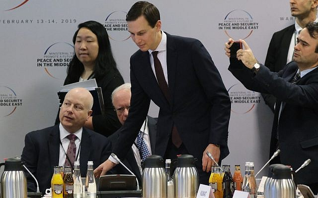 Jared Kushner, center, and Jason Greenblatt, left, attend the opening session of a Middle East peace conference in Warsaw, Poland, Feb. 14, 2019. (Sean Gallup/Getty Images)