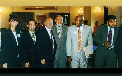 "Twenty years ago, the black and Jewish caucus was helped by, from left, Betty Ehrenberg, with the Orthodox Union and now with the World Jewish Congress; Michael Cohen; Rabbi David Saperstein of the Union for Reform Judaism; and Representatives Alcee Hastings, Edolphus ""Ed"" Towns, and Jesse Jackson Jr."