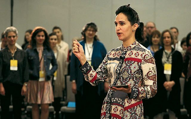 "Priya Parker, author of ""The Art of Gathering,"" talks at UpStart's Collaboratory2019 in Brooklyn. (Upstart)"