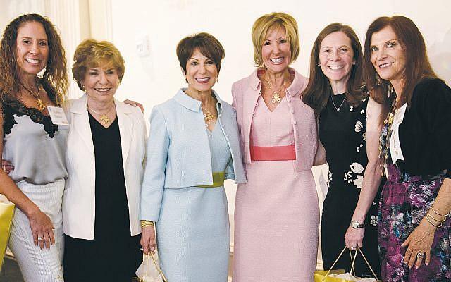JFNNJ Women's Philanthropy co-presidents Karen Farber, left, and Joan Kreiger, right, flank Spring Luncheon honorees, from left, Rita Merendino, Rena Klosk, Carole Newman, and Sarah Nanus.