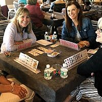 More than 70 men and women played bridge, mahjong and canasta, including, from left, Nancy Eichenbaum, Lauri Bader, Joan Krieger, and Joelle Halperin.