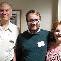Volunteer Rich Feldman, JFCS volunteer coordinator Patrick Kidd, and volunteer  Iris Bornstein