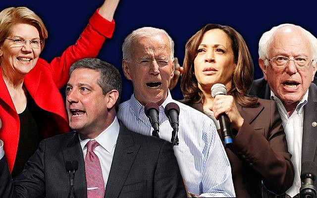 From left to right, Democratic presidential contenders Elizabeth Warren, Tim Ryan, Joe Biden, Kamala Harris and Bernie Sanders. All five, along with several others, delivered video messages at the American Jewish Committee's 2019 Global Forum. (Getty Images/JTA Montage)