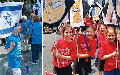At left, a young member of the Rockland delegation. At right, students from Yavneh Academy in Paramus beam as they march.