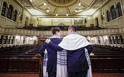 From left, Brian and Benjamin Barth at  Park Avenue Synagogue in Manhattan.