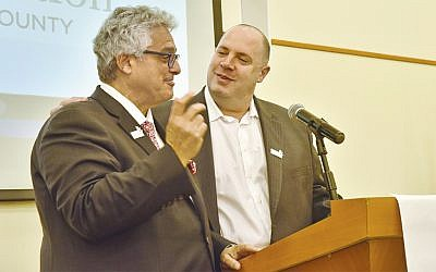 New Rockland Federation and Foundation co-presidents Steve Gold and  Stephen Cohn address the annual meeting. (Courtesy Rockland Federation)