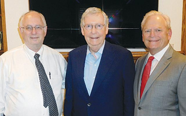 Dr. Ben Chouake, left, Senate Majority Leader Mitch McConnell, and Jerry Gontownik. (Photos courtesy Norpac)
