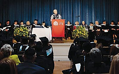 JTS Chancellor Arnold Eisen speaks at the graduation. (Courtesy JTS)