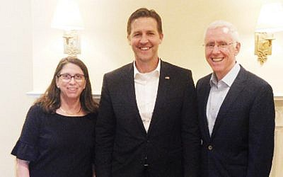 Drs. Esther and Mort Fridman, flank Senator Ben Sasse. (Courtesy Norpac)