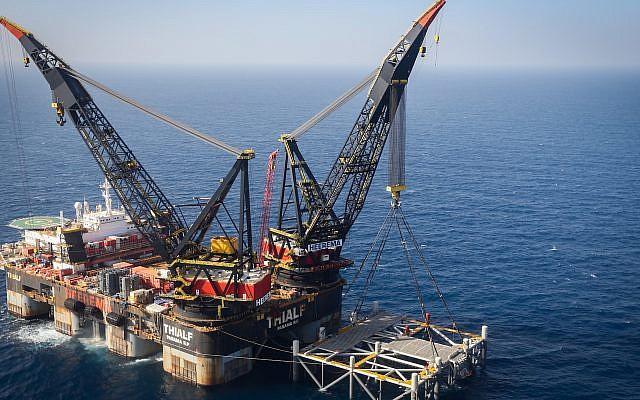 A view of the Israeli Leviathan gas field gas processing rig near the Israeli city of Caesarea, Jan. 31, 2019. (Marc Israel Sellem/Pool/Flash90)