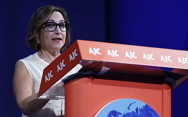 Harriet Schleifer speaking at the AJC Global Forum, in Washington, D.C., June 2, 2019. (Courtesy of AJC)