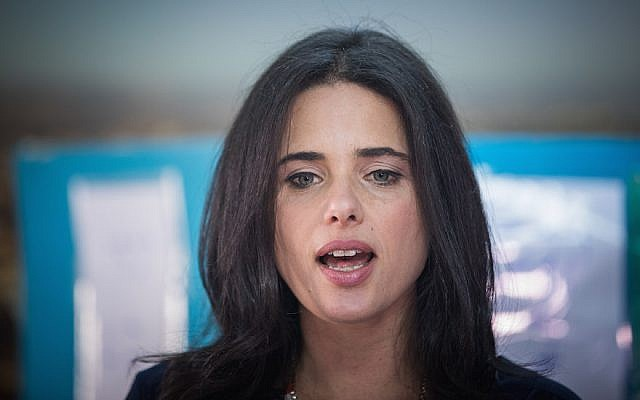 Justice Minister Ayelet Shaked casting her vote in preliminary parliamentary elections in Jerusalem, April 27, 2017. (Yonatan Sindel/Flash90)