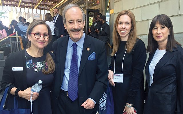 From left, Norpac mission chair Dr. Laurie Baumel of Teaneck, Rep. Eliot Engel (D-NY Dist. 16), Chana Shields of Teaneck, and Suzette Diamond of Cresskill stand together in Washington.