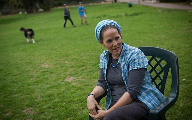 Rachelle Sprecher Fraenkel, whose son Naftali was kidnapped and murdered, seen in Nof Ayalon, Israel, in 2014. (Miriam Alster/Flash90)
