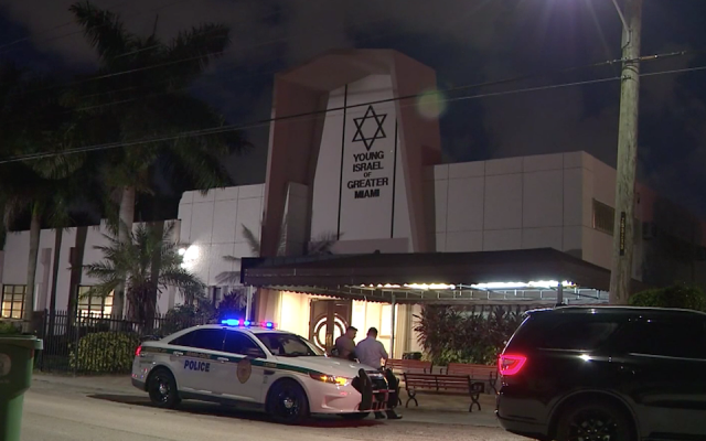 The Young Israel of Greater Miami synagogue on the night of the shooting, July 28, 2019. (Screenshot from Local10.com)