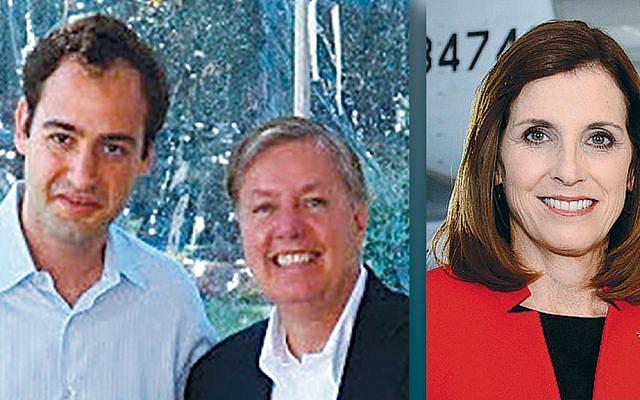 Shmuel Jonas, left, and Senator Lindsey Graham, and Senator Martha McSally (Photos courtesy Norpac)