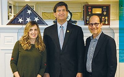 Rochelle Goldschmiedt and her husband, Phil, flank Congressman Brad Schneider. (Photos courtesy Norpac)