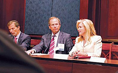 U.S. Senator Marsha Blackburn (R-Tenn.) met with leaders of the Orthodox Union on Capitol Hill on June 26 to discuss the organization's federal advocacy priorities, including funding for Department of Homeland Security grants to protect synagogues, day schools, and other nonprofits. Joining her, from left, are OU board members Manny Schnaidman of Teaneck and Drew Parker of Englewood. (OU Advocacy Center)