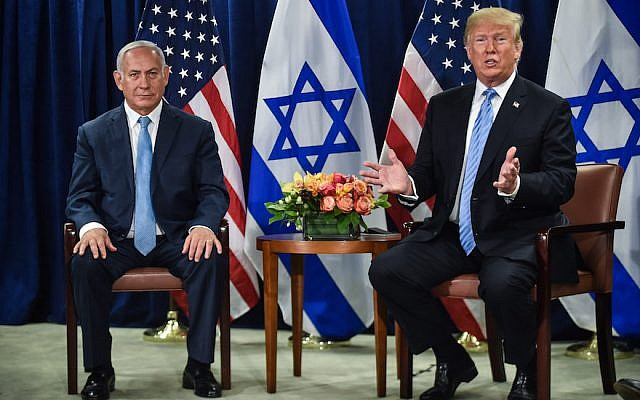 President Donald Trump meets with Israeli Prime Minister Benjamin Netanyahu in New York on the sidelines of the UN General Assembly, Sept. 26, 2018. (Nicholas Kamm/AFP/Getty Images)