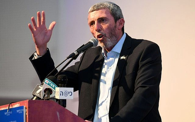 Rafi Peretz, Israel's Education Minister and chairman of the Jewish Home Party, speaks at a party meeting on June 19, 2019. (Yehuda Haim/Flash90)