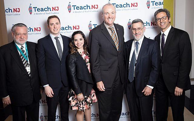 Allen Fagin, Dan Mitzner, Renee Klyman, Governor Phil Murphy, Rabbi Menachem Genack, and Josh Caplan. (Teach NJ)