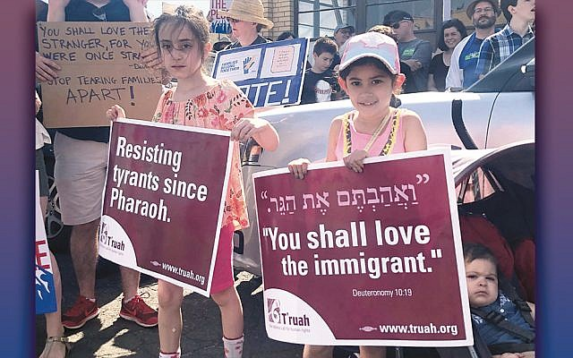 Last year, Aliza Pelavin, left, and Cayla Olitzky joined the demonstration. Aliza's mother is Rabbi Rachel Kahn-Troster.