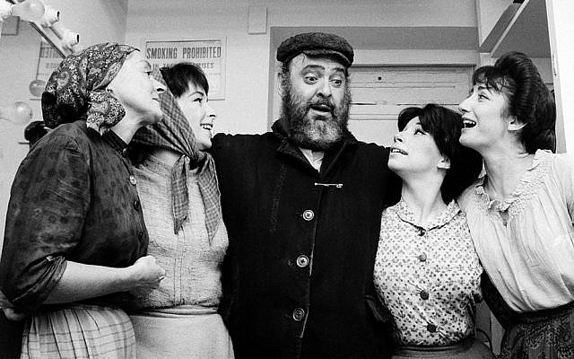 "From left, Maria Karnilova, Tanya Everett, Zero Mostel, Julia Migenes, and Joanna Merlin backstage at opening night of ""Fiddler on the Roof"" at the Imperial Theater in Manhattan on September 22, 1964. (AP/Courtesy of Roadside Attractions and Samuel Goldwyn Films)"