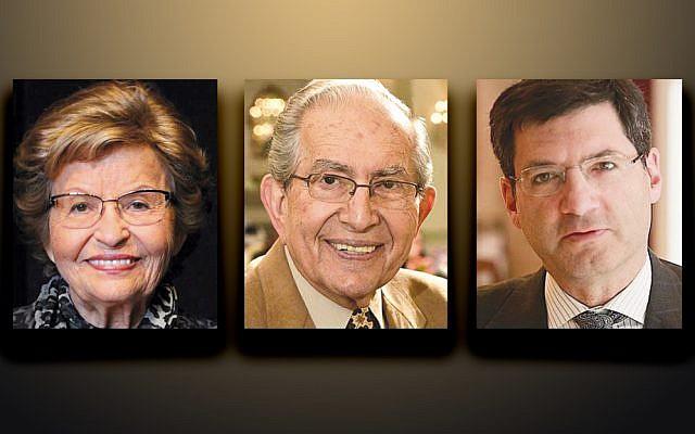 Judy Josephs, left, Jules Stern, and Rabbi Steven Weil