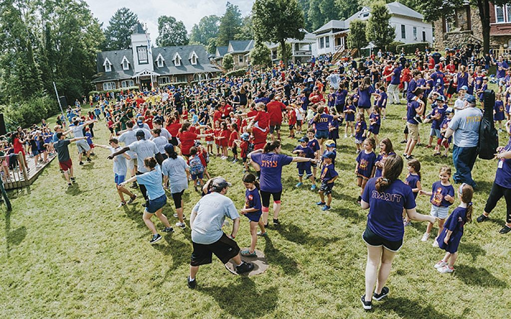 Counselors and campers play at Ramah Day Camp in Nyack.