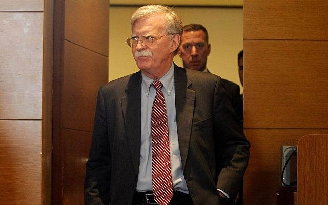 National Security Adviser John Bolton arrives at his news conference in Kiev, Ukraine, Aug. 28, 2019. (STR/NurPhoto via Getty Images)